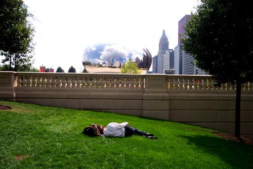 Asleep near the Cloud Gate