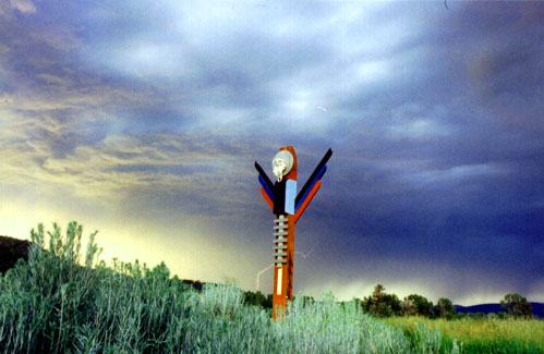 Totem post in approaching thunderstorm
